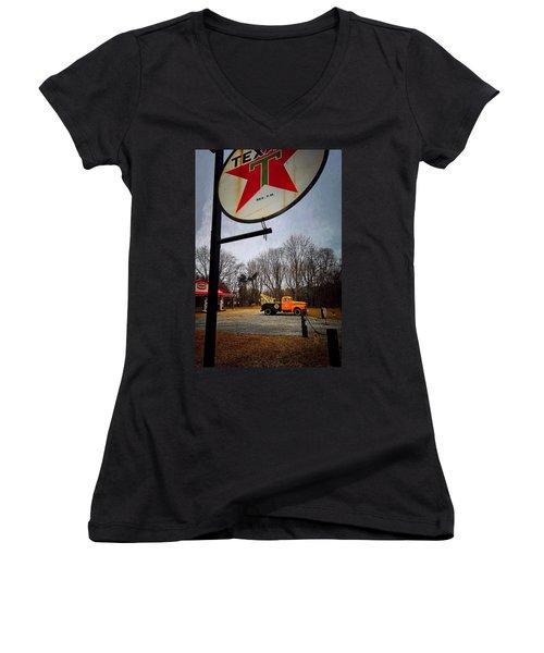Mr. Towed's Magical Ride Women's V-Neck T-Shirt (Junior Cut) by Robert McCubbin