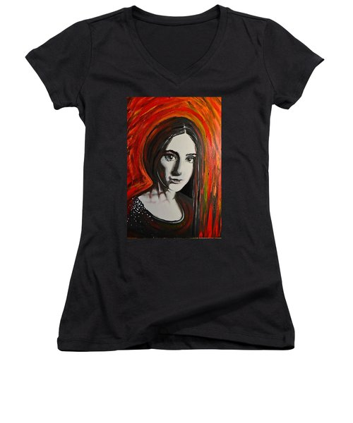 Portrait In Black #x Women's V-Neck T-Shirt (Junior Cut) by Sandro Ramani