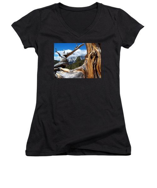 Mt. Charleston Thru A Tree Women's V-Neck T-Shirt (Junior Cut) by Alan Socolik