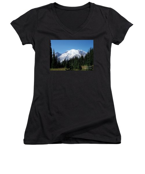Women's V-Neck T-Shirt (Junior Cut) featuring the photograph Mt. Rainier In August by Chalet Roome-Rigdon