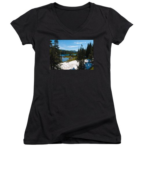 Women's V-Neck T-Shirt (Junior Cut) featuring the photograph Mt. Rainier Wilderness by Tikvah's Hope