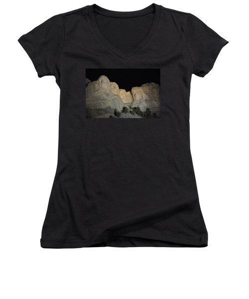 Mt. Rushmore At Night Women's V-Neck