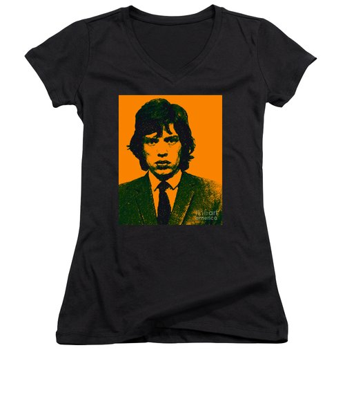 Mugshot Mick Jagger P0 Women's V-Neck