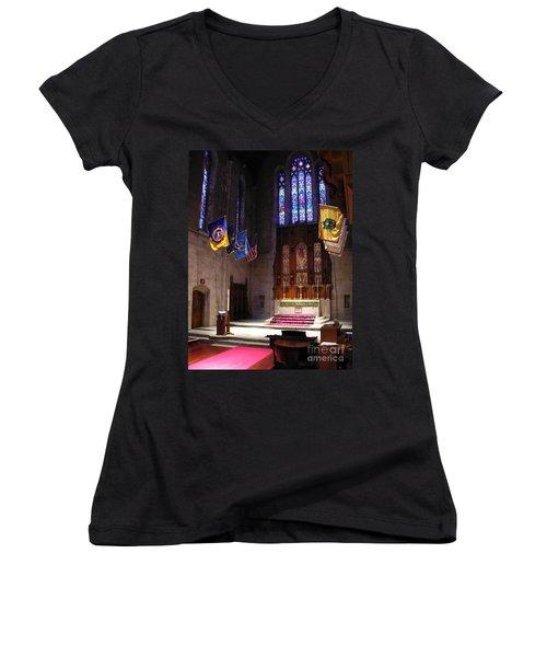Women's V-Neck T-Shirt (Junior Cut) featuring the photograph  Egner Memorial Chapel Altar by Jacqueline M Lewis