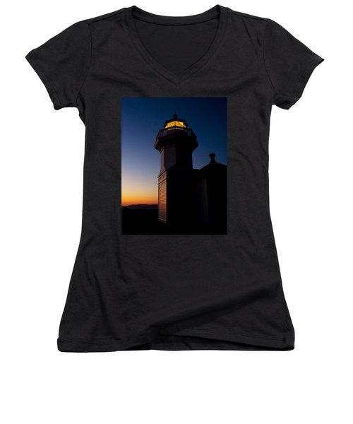 Women's V-Neck T-Shirt (Junior Cut) featuring the photograph Mukilteo Light House Sunset by Sonya Lang