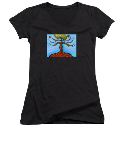 Women's V-Neck T-Shirt (Junior Cut) featuring the painting Muladhara by Deborha Kerr