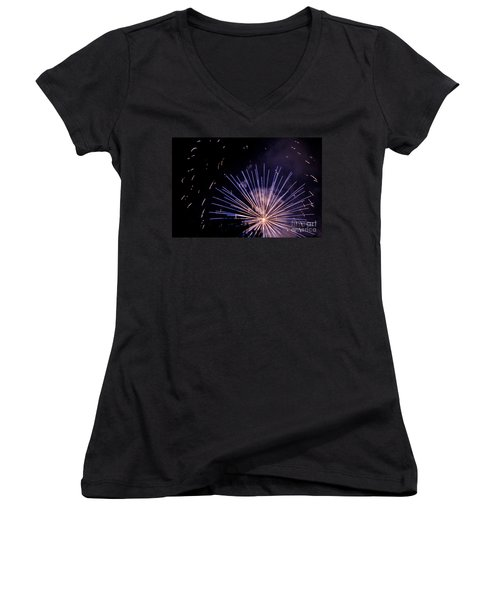 Women's V-Neck T-Shirt (Junior Cut) featuring the photograph Multicolor Explosion by Suzanne Luft