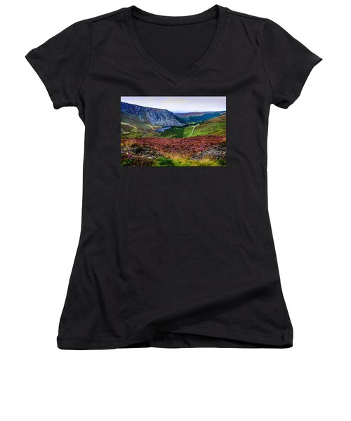 Multicolored Carpet Of Wicklow Hills. Ireland Women's V-Neck