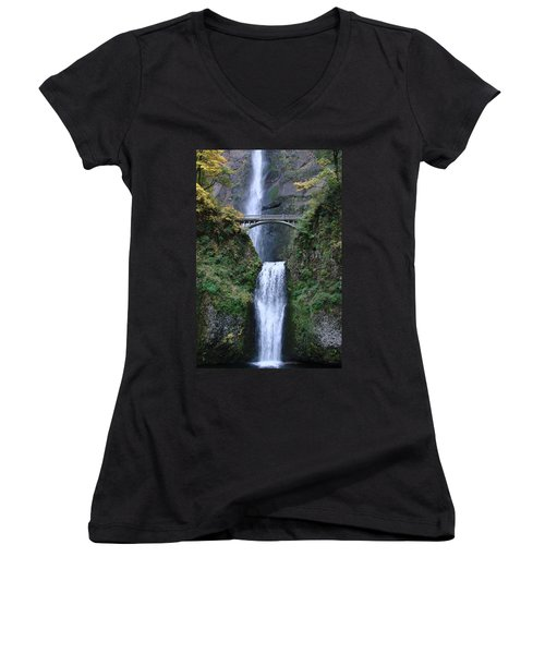 Women's V-Neck T-Shirt (Junior Cut) featuring the photograph Multnomah Falls by Athena Mckinzie