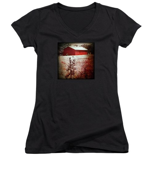 Murder In The Red Barn Women's V-Neck T-Shirt (Junior Cut) by Trish Mistric