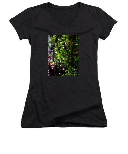 Mushrooms Women's V-Neck T-Shirt (Junior Cut) by Vanessa Palomino