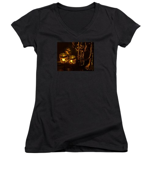 Trumpet And Candlelight Women's V-Neck