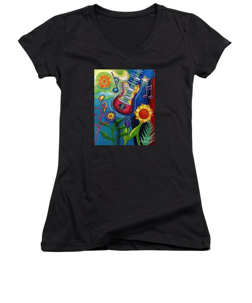 Music On Flowers Women's V-Neck T-Shirt (Junior Cut) by Genevieve Esson