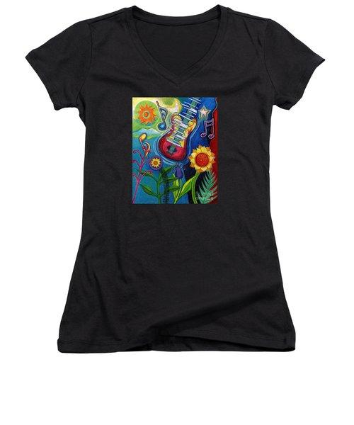 Music On Flowers Women's V-Neck T-Shirt (Junior Cut)