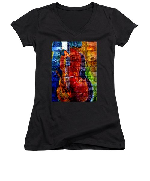Musician Bass And Brick Women's V-Neck (Athletic Fit)