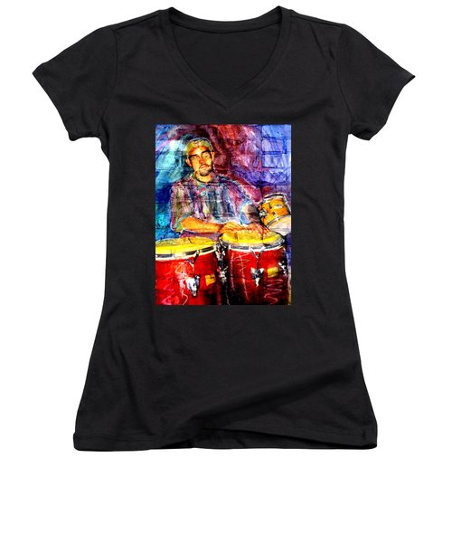 Musician Congas And Brick Women's V-Neck