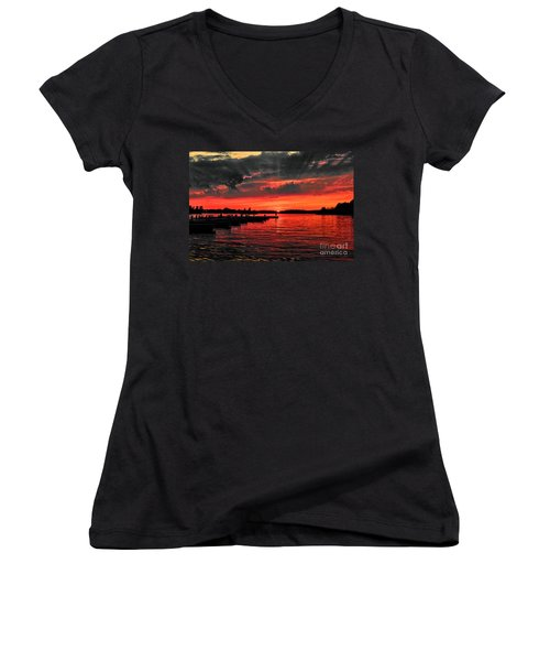 Muskoka Sunset Women's V-Neck T-Shirt (Junior Cut) by Les Palenik