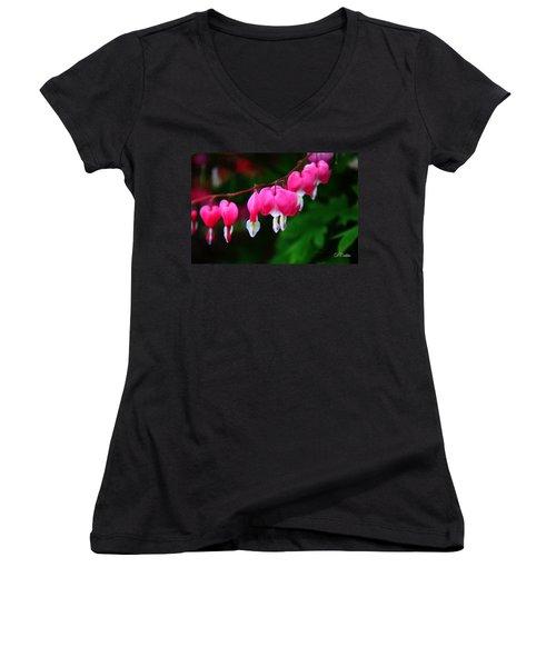 Women's V-Neck T-Shirt (Junior Cut) featuring the photograph My Bleeding Heart by Davandra Cribbie