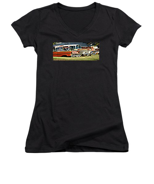 Women's V-Neck T-Shirt (Junior Cut) featuring the digital art My Cars by Cathy Anderson