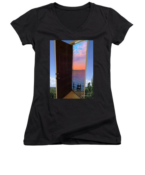 My Door To Success Women's V-Neck (Athletic Fit)