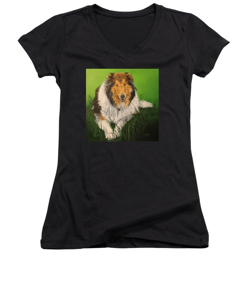 Women's V-Neck T-Shirt (Junior Cut) featuring the painting My Guardian  by Wendy Shoults