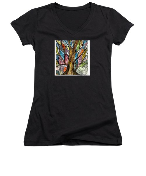 My Happy Watercolor Tree Women's V-Neck (Athletic Fit)