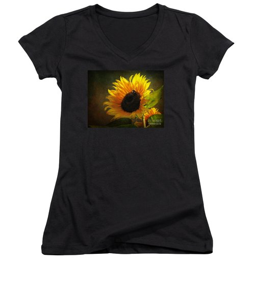 Women's V-Neck T-Shirt (Junior Cut) featuring the digital art ...my Only Sunshine by Lianne Schneider