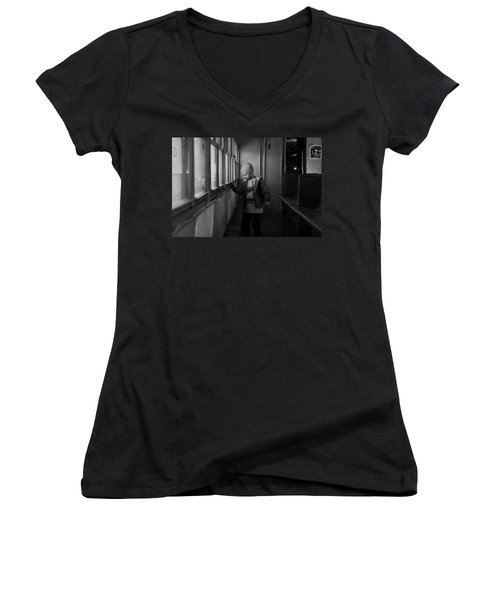 Women's V-Neck T-Shirt (Junior Cut) featuring the photograph My Shadow by Jeremy Rhoades