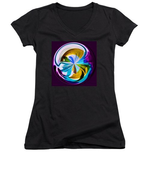 Women's V-Neck T-Shirt (Junior Cut) featuring the photograph My World by Sonya Lang