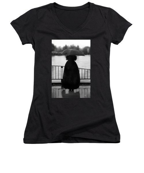 Women's V-Neck T-Shirt (Junior Cut) featuring the photograph Lady At The Lake by Aaron Berg