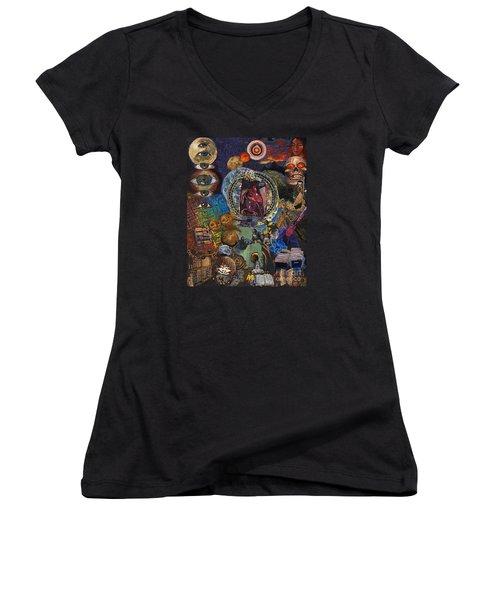 Mystery Of The Human Heart Women's V-Neck T-Shirt (Junior Cut) by Emily McLaughlin