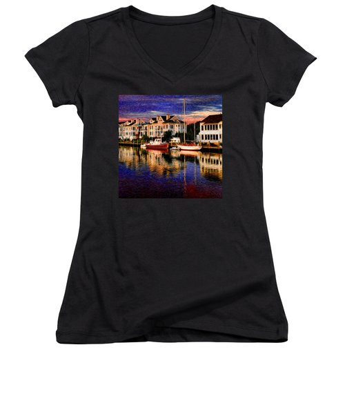 Mystic Ct Women's V-Neck T-Shirt (Junior Cut) by Sabine Jacobs