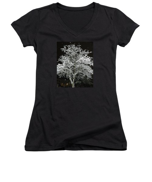 Mystical Winter Beauty Women's V-Neck T-Shirt (Junior Cut) by Emmy Marie Vickers