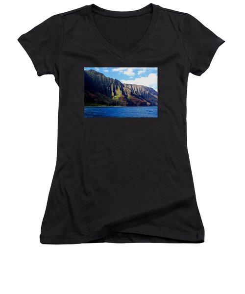 Na Pali Coast On Kauai Women's V-Neck T-Shirt (Junior Cut) by Amy McDaniel