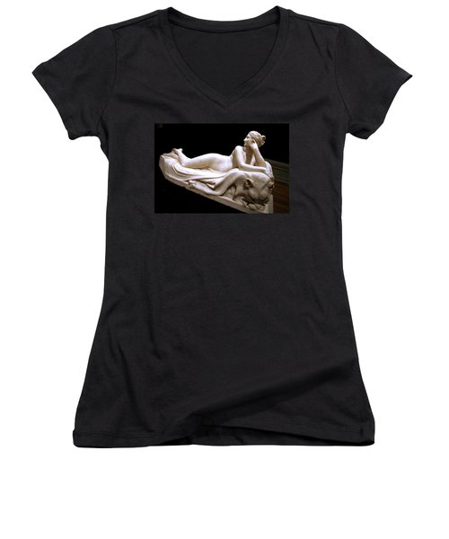 Women's V-Neck T-Shirt (Junior Cut) featuring the photograph Canova's Naiad by Cora Wandel