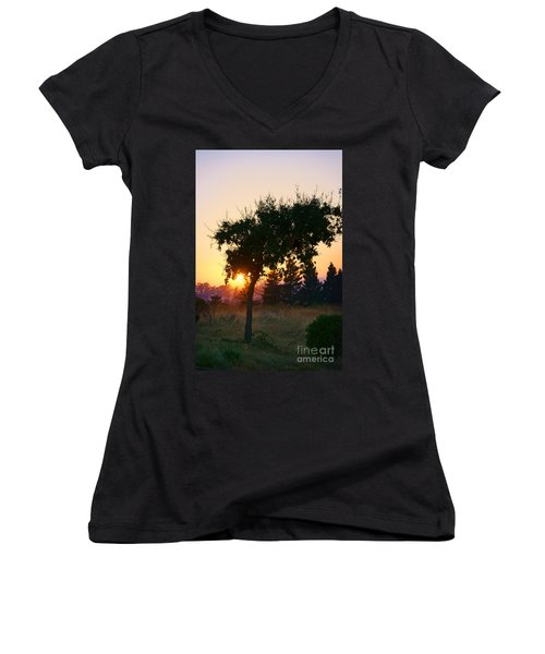 Women's V-Neck T-Shirt (Junior Cut) featuring the photograph Napa Moment by Ellen Cotton