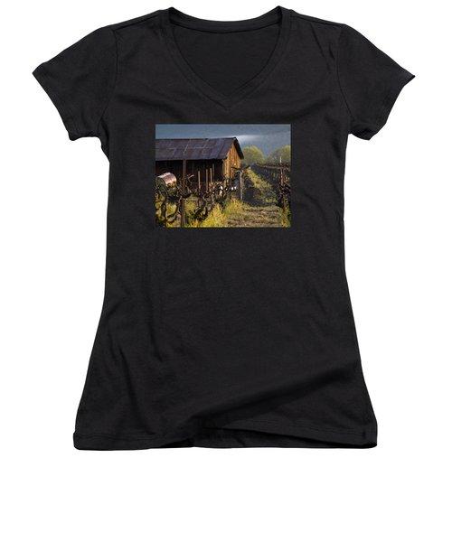 Napa Morning Women's V-Neck T-Shirt (Junior Cut) by Bill Gallagher