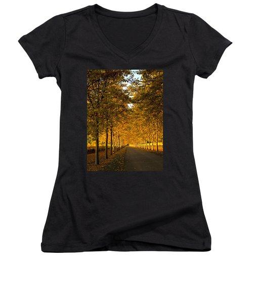 Napa Valley Fall Women's V-Neck T-Shirt (Junior Cut) by Bill Gallagher