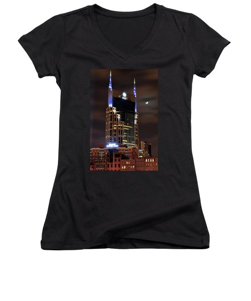 Nashville Women's V-Neck T-Shirt (Junior Cut) by Frozen in Time Fine Art Photography