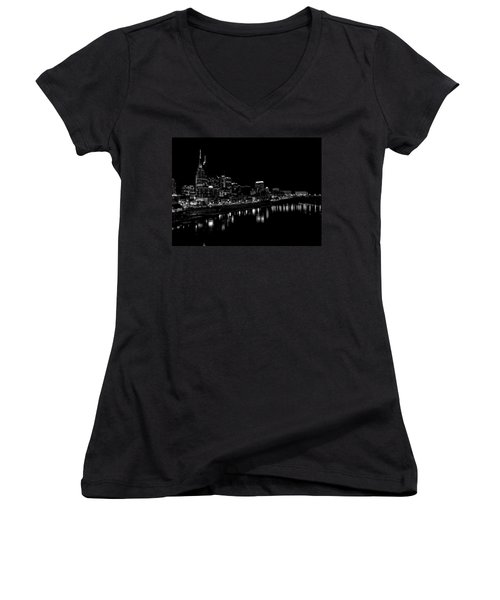 Nashville Skyline At Night In Black And White Women's V-Neck T-Shirt (Junior Cut) by Dan Sproul