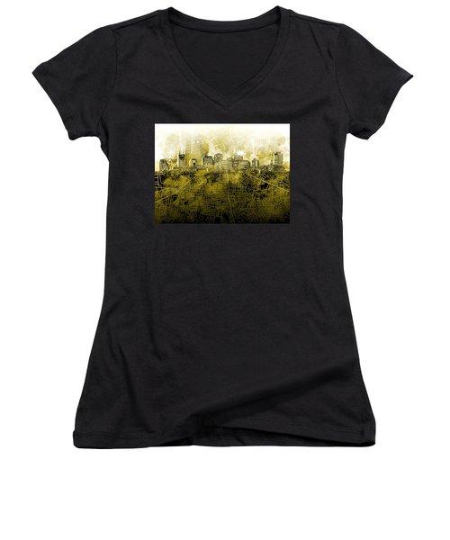 Nashville Skyline Watercolor 4 Women's V-Neck T-Shirt