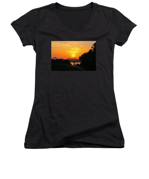 Natchez Sunset Women's V-Neck T-Shirt