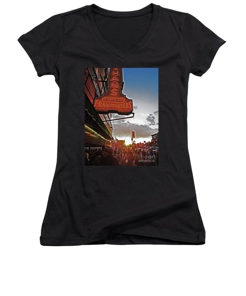 Women's V-Neck T-Shirt (Junior Cut) featuring the photograph Nathan's Famous Coney Island Sunset Frankfurters by Andy Prendy