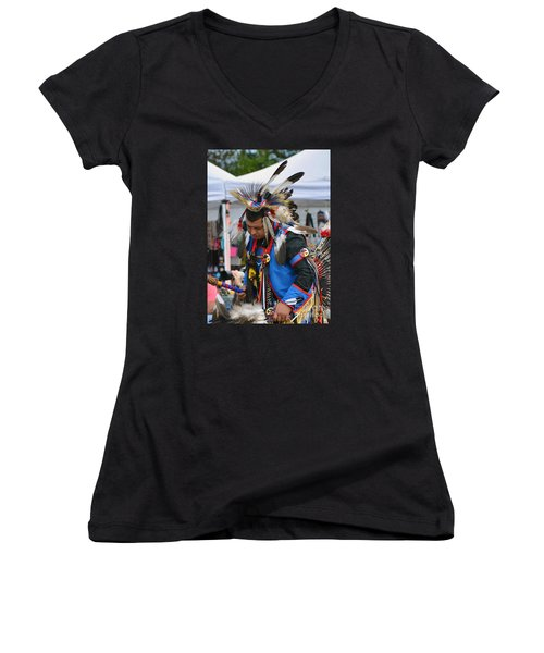 Women's V-Neck T-Shirt (Junior Cut) featuring the photograph Native American Dancer by Kathy Baccari