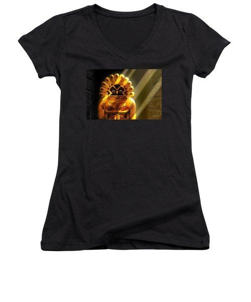 Native American Hawk Spirit Gold Idol Women's V-Neck T-Shirt