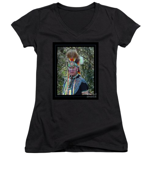Native American Portrait Women's V-Neck (Athletic Fit)