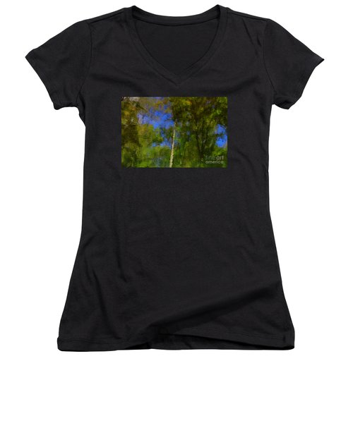 Nature Reflecting Women's V-Neck T-Shirt (Junior Cut) by Melissa Petrey
