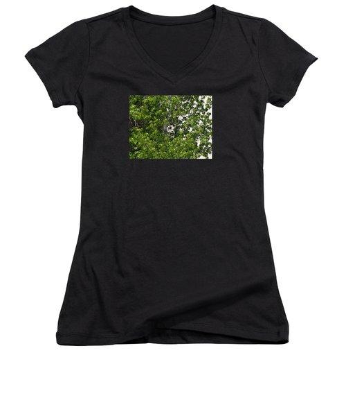 Nature's Art - Wellness Works Glendale - Face In The Tree  Women's V-Neck T-Shirt