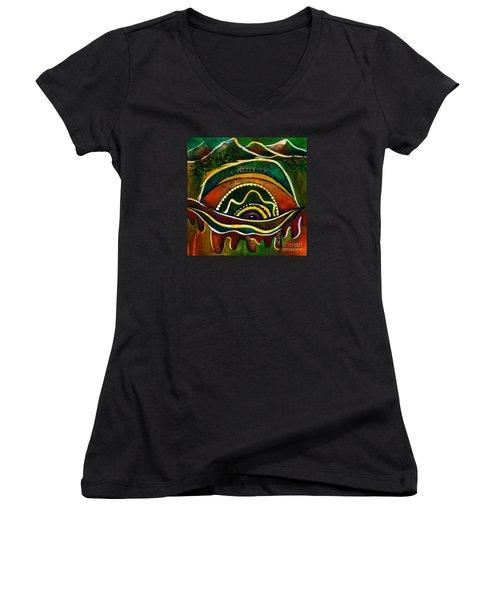 Nature's Child Spirit Eye Women's V-Neck T-Shirt (Junior Cut) by Deborha Kerr