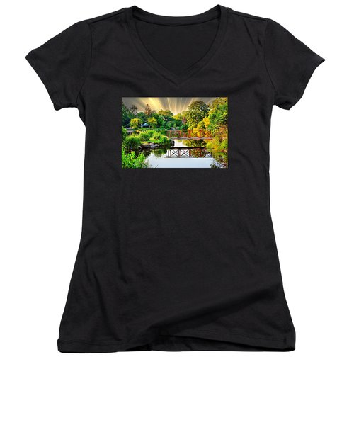 Women's V-Neck T-Shirt (Junior Cut) featuring the photograph Nature's Reflections by Judy Palkimas